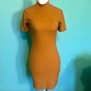Missguided Ribbed Bodycon Collared Mustard Dress